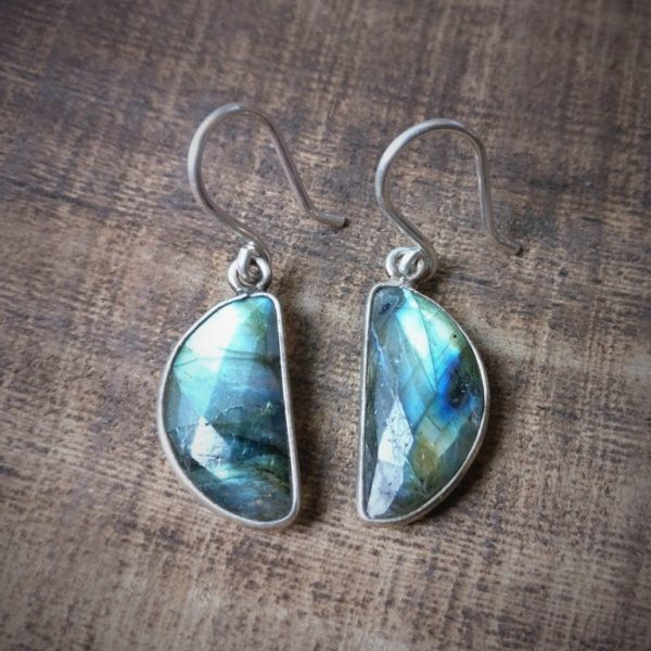 Silver 925 labradorite moon earrings