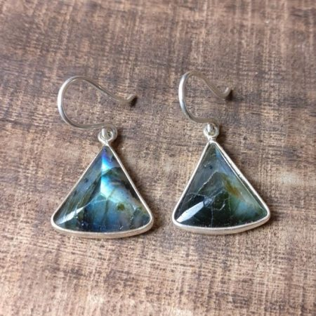 Silver 925 labradorite triangle earrings Silver Rune Crafts