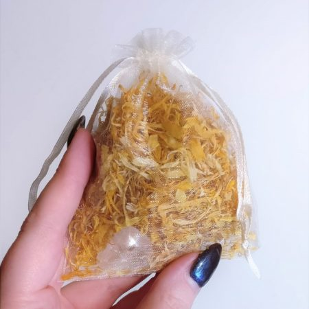 Silver Rune Crafts Calendula flowers with rock crystal