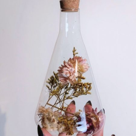 Silver Rune Crafts Dried flowers in Erlenmeyer flask