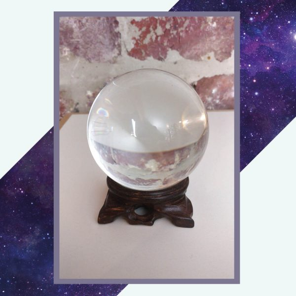 Silver Rune Crafts Crystal ball with wooden display stand