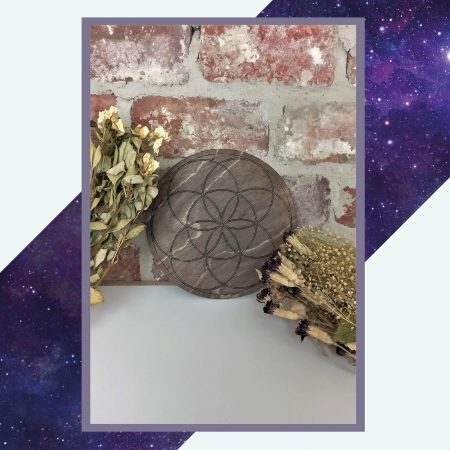 Silver Rune Crafts Wooden crystal grid seed of life dark 19,5cm