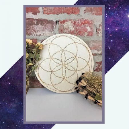 Silver Rune Crafts Wooden crystal grid seed of life 29cm