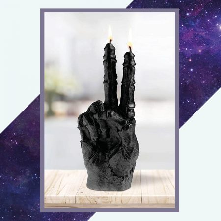 Silver Rune Crafts Zombie hand peace candle